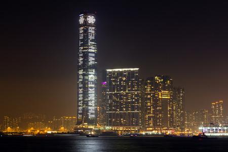 icc: Night View Kowloon Skyline in Hong kong