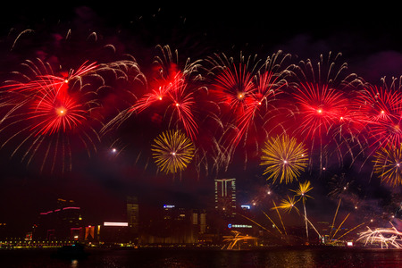 new years day: Fireworks Show in HongKong Editorial