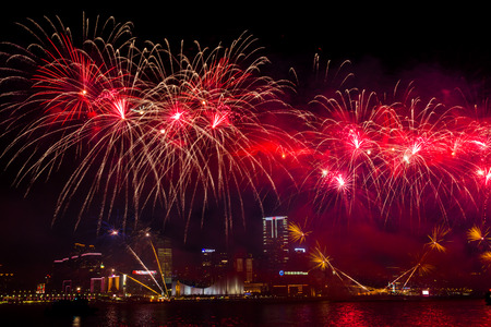hong kong harbour: Fireworks Show in HongKong Editorial