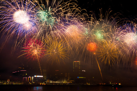 Fireworks Show in HongKong Stock Photo