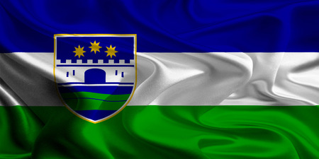 federation: Flag of Una-Sana Canton of the Federation of Bosnia and Herzegovina Stock Photo