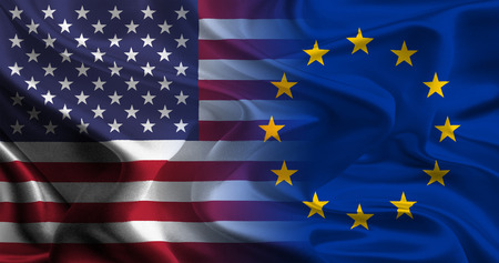 merging together: USA - EU Flags merging together concept