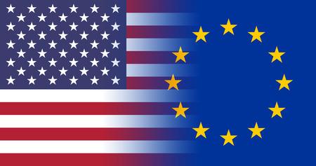 USA - EU Flags merging together concept photo