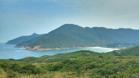 arial view: Arial View of Sai Wan beach from MacLehose Trail, Sai Kung, Hong Kong, China  Stock Photo