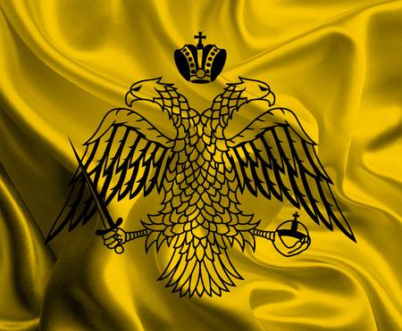 Flag of the Greek Autonomous Region Mount Athos Stock Photo - 27430587