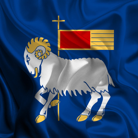 official flag of Gotland County, sweden Stock Photo