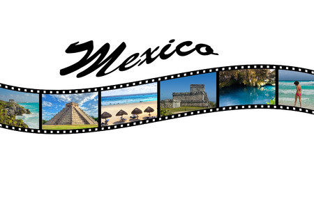 cancun: Travel Photo Film Strip of Mexico