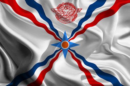 Vlag van Assyrië, Irak Stockfoto