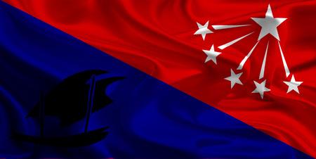 papua: Flag of Central Province, Papua New Guinea Stock Photo