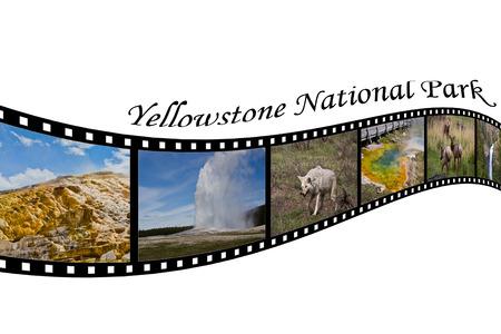 옐로우 스톤 국립 공원, 와이오밍, 미국 여행 사진 필름 스트립 스톡 콘텐츠