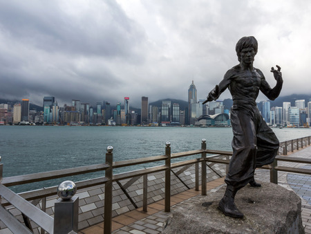 Bruce Lee statue at the Avenue of Stars in Tsim Sha Tsui, Hong Kong, China