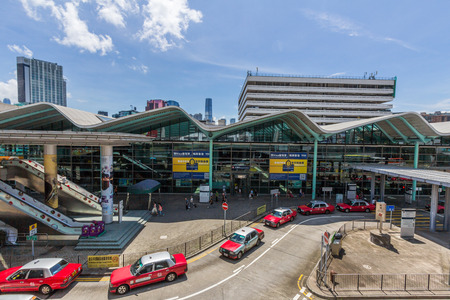 Taxi cabs waiting in front of Hung Hom metro station in Hong Kong  Over 90  daily travelers use public transport in Hong Kong