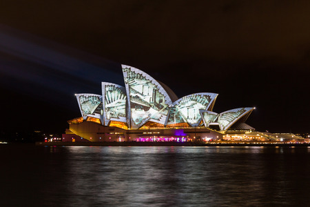 Sydney Opera House lit with vibrant colors patterns and moving imagery during the annual Vivid Sydney festival   Editorial