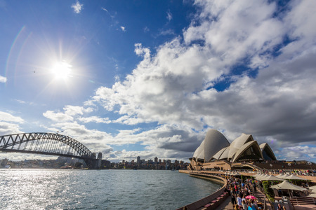 scenary: Sydney opera house and harbor bridge