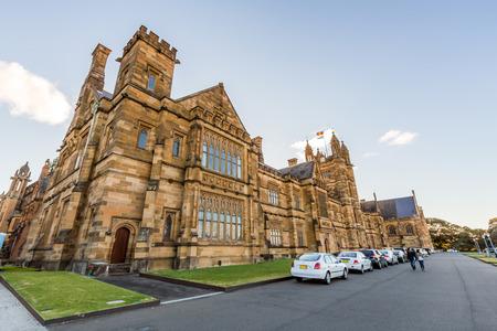 Historische Quadrant Building bij de Universiteit van Sydney, Australië Vijf Nobel of Crafoord laureaten zijn verbonden aan de universiteit als afgestudeerden en docenten Redactioneel