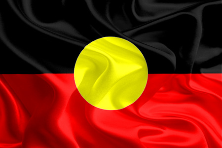 australian culture: Australian Aboriginal Flag Stock Photo