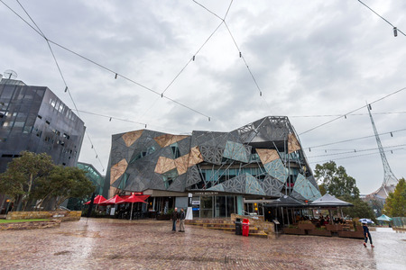 federation: Federation Square, in Melbourne, is a mixed-use development covering an area of 3 2 hectares built on top of a concrete deck above busy railway lines   Editorial