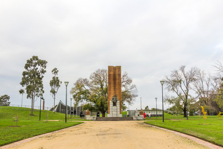 sidney: King George V memorial monument near Sidney Myer Music Bowl, by Sculptor William Leslie Bowles  Editorial