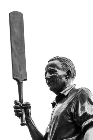 donald: The statue of Sir Donald Bradman, an Australian cricket player at Melbourne Cricket Ground in Australia  in black and white