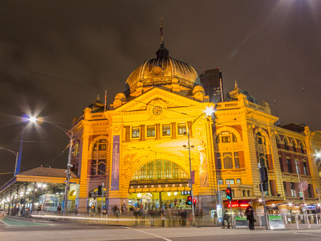 flinders: Flinders Street railway station is a railway station on the corner of Flinders and Swanston Streets in Melbourne   Editorial