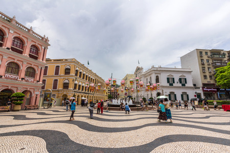 Historic Centre of Macao-Senado Square in Macau, China  The Historic Centre of Macao was inscribed on the UNESCO World Heritage List in 2005   新聞圖片