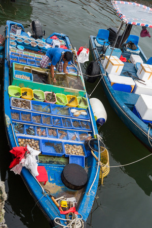 various types of fresh seafood for sale on a boat in Sai Kung harbour, Hong Kong