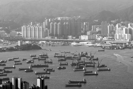 View of Hong Kong Victoria Harbor from Victoria Peak in Hong Kong, China. Stock Photo