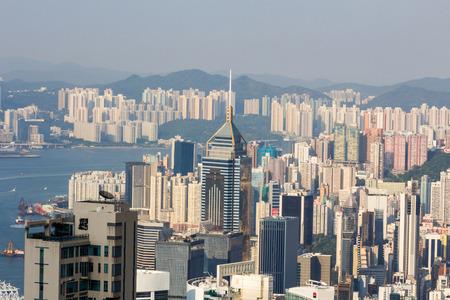 ifc: View of Hong Kong from Victoria Peak in Hong Kong, China. Stock Photo