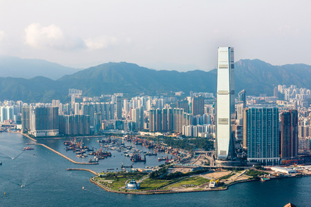 View of West Kowloon from Victoria Peak in Hong Kong, China.