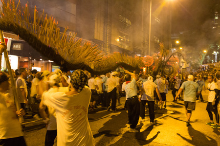 The fire dragon dance is performed at Tai Hang, Hong Kong on the eve of the Mid-Autumn Festival
