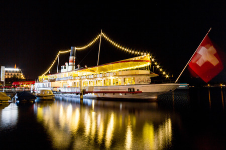 Night view of Schiff-Restaurant Wilhelm Tell in Lucern, Switzerland