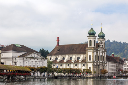 View of river Reuss and Jesuitenkirche  in Lucerne, Switzerland