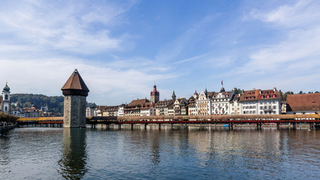 Chapel bridge and Lucerne cityscape, Switzerland photo
