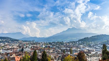Birds eye view of city of Lucerne in Switzerlan photo