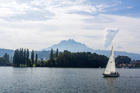 A sail boat in lake Lucerne, Switzerland Editorial