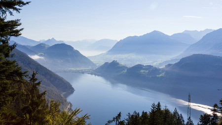 View of  Lake Lucerne from Mt. Pilatus in Lucerne, Switzerland photo