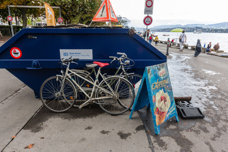 Garbage collected from the bottom of the Zurich lake, including old bicycles. City volunteers regularly dive to the bottom of the lake to clean the lake.