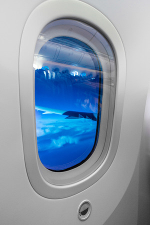 window shades: Electric Window Shades in Qatar Airways Boeing 787-8 Dreamliner. The 787s cabin windows are larger in area than any other civil air transport in-service.