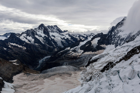 monch: View of the Grindelwald-Fiescher Glacier from Eismeer railway station Stock Photo