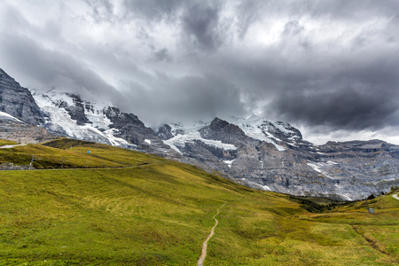 monch: View of Eiger, Monch and Jungfrau, Switzerland, Europe
