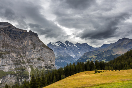 Alpine mountain range in Switzerland, Europe photo