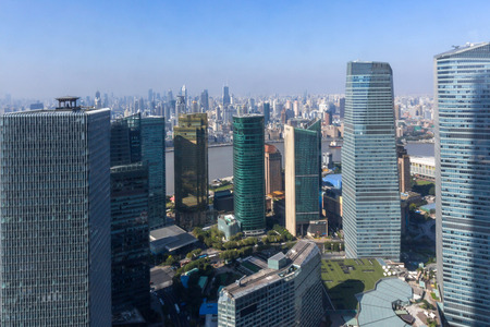 arial: Arial View of Shanghai Skyline Stock Photo