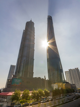 hist: Shanghai Tower and Jin Mao Tower in Shanghai, China. These are the tallest and 3rd tallest buildings in Shanghai. Editorial
