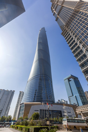hist: Shanghai Tower in Shanghai, China. It is a megatall skyscraper under construction in Lujiazui, Pudong, Shanghai.