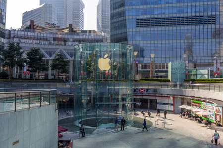 pudong district: Apple Store in front of Shanghai IFC South Tower and North Tower in Pudong District in Shanghai. Editorial