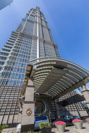 hist: Jin Mao Tower in Shanghai, China. This is the 3rd tallest buildings in Shanghai.