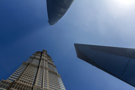hist: Shanghai Tower, World Financial Center and Jin Mao Tower in Shanghai, China. These are the tallest and 3rd tallest buildings in Shanghai. Editorial