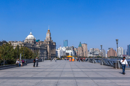 pudong district: The bund is the western bank of the Hangpu river facing pudong district. Shanghai is an emerging business and economy center of China. Editorial