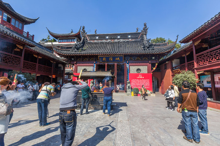 Temple of the Town Gods (Chenghuang Miao) in Shanghai, China. It dates from 1403 though the current building site is new, constructed in the 1990s.