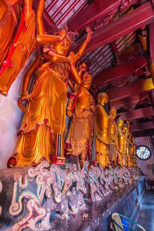 jade buddha temple: Statues at Jade Buddha temple in Shanghai, China. It houses two jade Buddha statues which had been brought from Burma by a monk named Huigen. Editorial